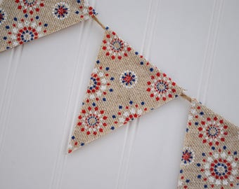 Red White & Blue Starburst Banner   4th of July Red White Blue Garland   Independence Day Banner   Patriotic Bunting