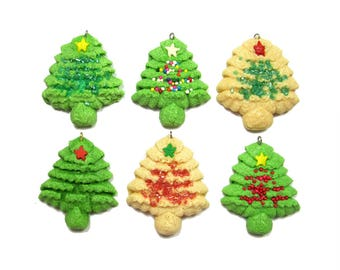 Handmade Christmas ornaments. Durable salt-dough replicas of spritz cookies.  Set of 6  trees.
