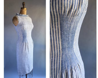 1960's Linen Stripe Sheath Dress