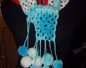 blue gradient scarf / white girl with PomPoms