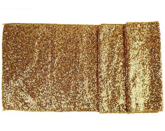 "Sequin Table Runner Solid Gold 12""x108""-Just Artifacts Brand-Item SKU:LTR120006- Metallic Table Runners for Weddings, Parties, & Events"