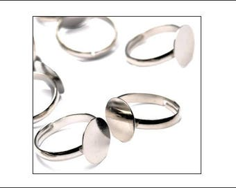 10 flat pad ring finding blanks, silver finish, ring findings, adjustable ring blanks, jewellery making, jewellery supplies, UK seller