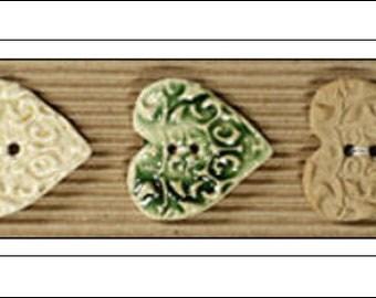 3 Ceramic Heart Buttons, Handmade, Fair Trade, Ceramic Buttons, handmade buttons, Incomparable Buttons, knitting, sewing, UK seller