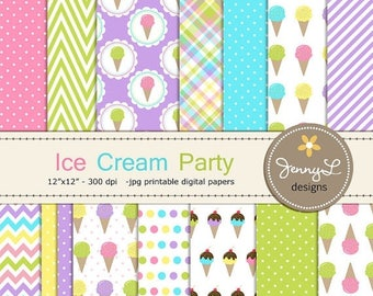 50% OFF Ice Cream Digital Papers, Ice Cream Party Theme Birthday Digital Scrapbooking Paper, Sweets, Dessert, Cone, Summer