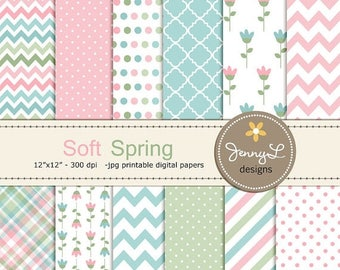50% OFF Soft Spring Digital Papers, Tulip Flower, Mother's Day, Easter, Girl Digital Scrapbooking Paper, Springtime,
