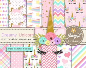 Unicorn Faces Digital Papers and Clipart, Pastel Unicorn Stars and Hearts for Scrapbooking, Invitation, Planners