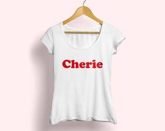Cherie T-shirt, French Tshirt, French tee, French shirt, Fashion shirt, Cherie tee, Printed shirt, Graphic shirt, Womens fashion