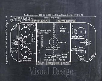 Ice Hockey Coach Gift - Hockey Decor - Hockey Poster - Hockey Blueprint - Hockey Patent Print - Hockey Wall Art Gift - Hockey Rink Diagram