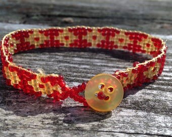Red and Yellow Seed Bead Bracelet