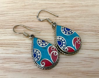 Turquoise Coral Lapis  Earrings