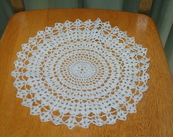 "Hand Crafted DOILY - 11"" White with Silver - Looks Festive and Glittery -  Hand Crocheted Doily"