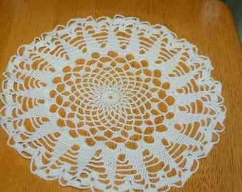 "Hand Crafted DOILY - 11"" White Hand Crocheted Doily"