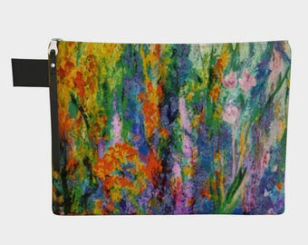 Meadow Flowers 1/Makeup bag flowers, floral purse Bride Wedding Carryall, Zipper purse cosmetic bag, colorful clutch bridesmaid gifts women