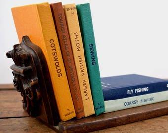 vintage handcrafted varnished oak bookshelf with fold down bookends