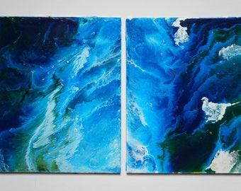 Ocean-8x10 (set of 2) acrylic abstract  original artwork