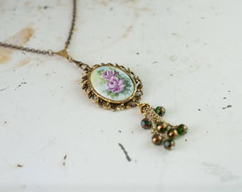Antique Handpainted Porcelain Flower Cameo with Tassel Necklace