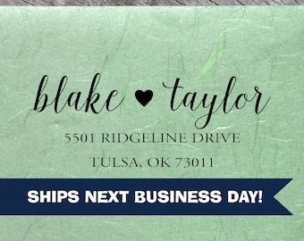 Custom Address Stamp, Blake Taylor Couple Stamp, Return Address Stamp