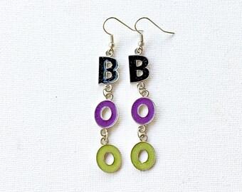 BOO Earrings, Halloween Earrings, Halloween Jewelry, Green Earrings, Metal Earrings, Purple Earrings, Silver Earrings, Black Earrings