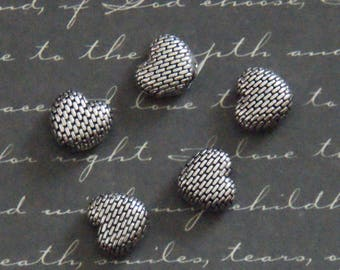5 fabric 4x9x10mm metal textured heart beads