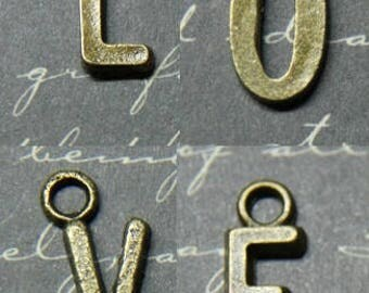4 charms metal bronze 7x15mm letters L-O-V-E