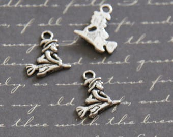 3 mini charms witch on broomstick silver 19 5x15mm