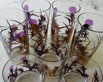 7 Mid Century Bar Glasses, Gregory Duncan, Gold, Purple, Thistle