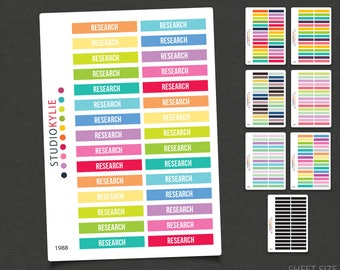 Research -  Header Planner Stickers - To Suit Erin Condren Life Planner Vertical  - Repositionable Matte Vinyl