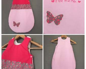 Sleeping bag 0-6 months months cotton printed grey butterflies, Fuchsia and rose hands with a butterfly