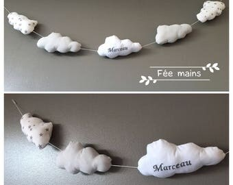 Garland of clouds in white, grey and white cotton with grey stars with the child's name