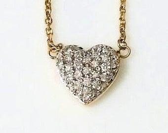 SALE***Vintage Pave Diamond Heart Necklace