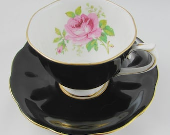Royal Albert Black American Beauty Tea Cup and Saucer, Pink Rose, Black Tea Cup, Vintage Bone China