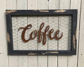 Chicken wire sign, Coffee Bar Sign, Metal Coffee Sign, Farmhouse Decor, Farmhouse Signs, Fixer Upper Style, Rustic Home Decor, Kitchen Decor