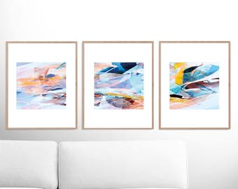 Abstract Art Print Set, Set of 3 Prints, Abstract Painting, Printable Abstract, instant download, Pink and blue art, 8x8 Prints, Wall art