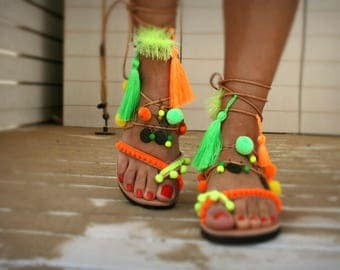 Tassel  Lace-up Fluo  boho sandal - Andros-Ethnic shoes-Green and orange charms