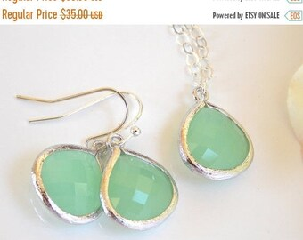 SALE Wedding Jewelry Set, Mint Green Earrings and Necklace, Sterling Silver, Fluorite, Pistachio, Gift, Bridesmaid Jewelry, Pendant, Dangle,