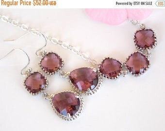 SALE Bridesmaid Jewelry, Plum Earrings and Necklace Set, Burgundy, Eggplant, Purple, Sterling Silver, Bridesmaids Gifts,Dangle,Pendant Set,
