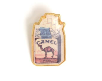 Camel, cigarettes pack pin, tobacco pin, cigarettes lapel pin, smoking accessories, cool pins, lapel pin, enamel pin, pop culture lapel pin