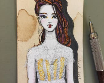 """ACEO, Original ACEO miniature, artist trading card, """"Lace Series---White Lace III"""", hand drawn fashion illustration, One of a Kind"""