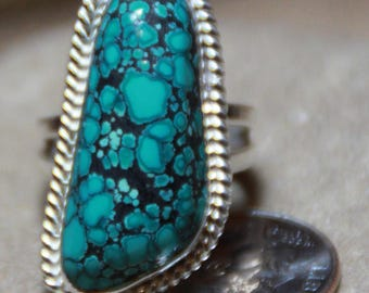 One of a kind handcrafted American turquoise ring
