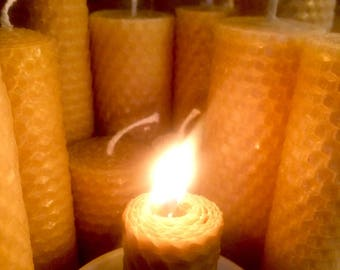 Set of Four Beeswax Candles, Wide Pillar Candles in Four Heights, 100% Pure Beeswax