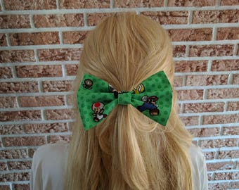 Vintage Inspired Hair Bows for Teens and Women, Nintendo Super Mario Characters Hair Bow Clip