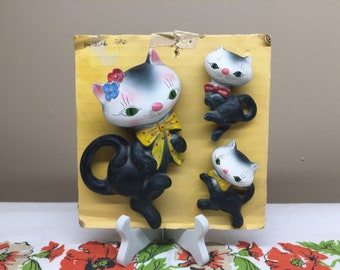 Vintage Cat Family Wall Plaque, Wall Hanging