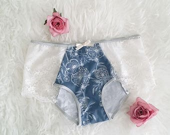 Blue White 'Misty' Cotton Lace Hipster Panty with Silver Sample size Medium