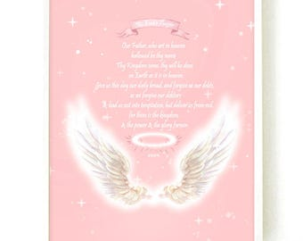 The Lord's Prayer Wall Art, Girl Nursery Decor, Nursery Decor, Wall Art For Girl Room, Wall Art For Kids, Gift For Her,