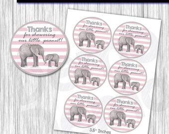 50% Off Elephant Baby Shower Favor Tags,Gift tags, Sticker tags, Thank you tags, digital gift tags, printable DIY, Stickers Elephant, Tags E