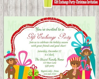 50% Off Gift Exchange Party-Christmas Invitation-Bear Christmas