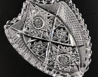 American Brilliant Period Cut Glass SHIELD FORM Small Low Bowl