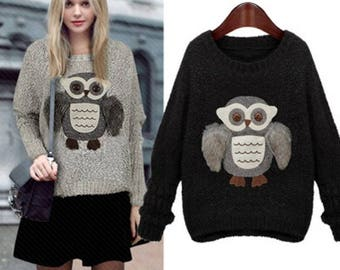 Cute Fuzzy Knitwear Owl Jumper