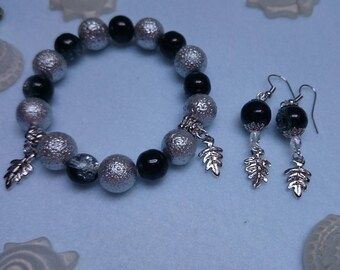 Set bracelet and earrings silver, black with leaves ref 252