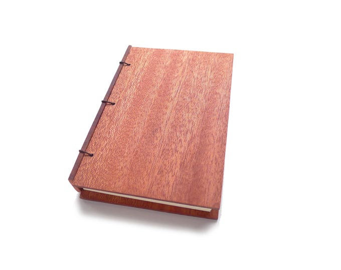 Featured listing image: Mahogany Wooden Notebook Wooden Wedding Guestbook Wood Journal Engraved Notebook Wooden Sketchbook Custom Journal Travel Notebook